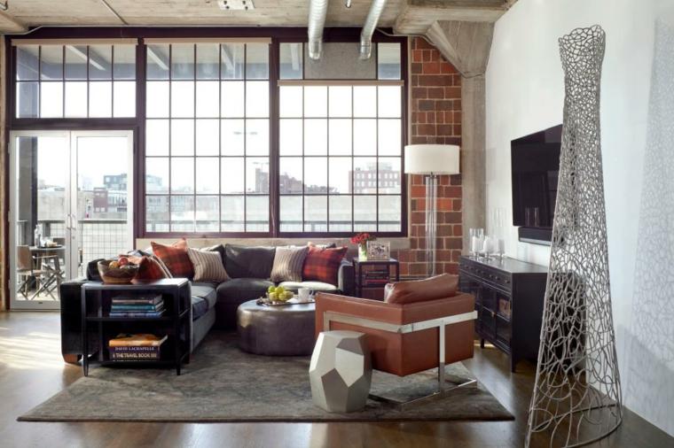 come arredare un salotto loft design industriale