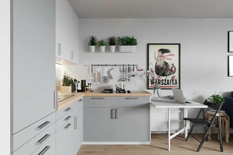 come arredare una cucina rettangolare mobili in legno di colore grigio tavolo da pranzo
