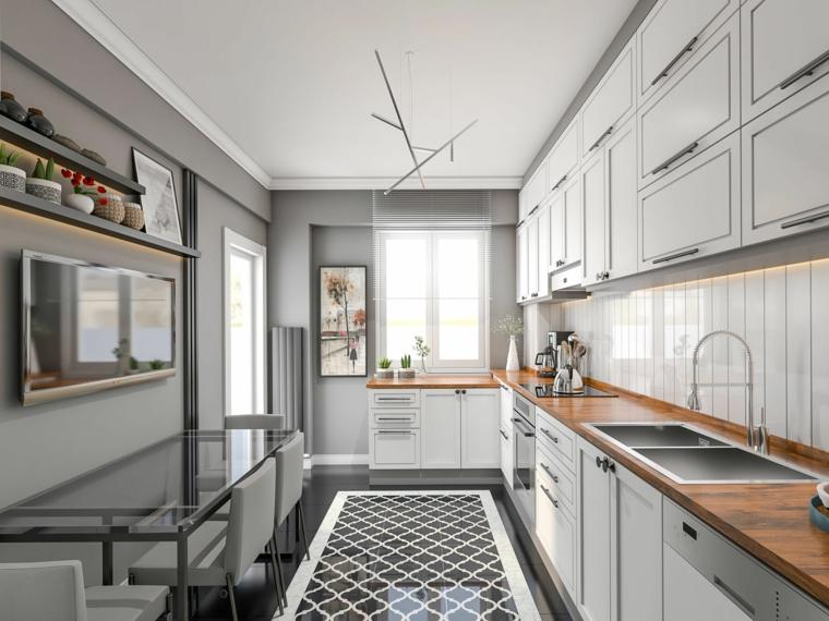 come arredare una cucina rettangolare top in legno pareti dipinte di grigio