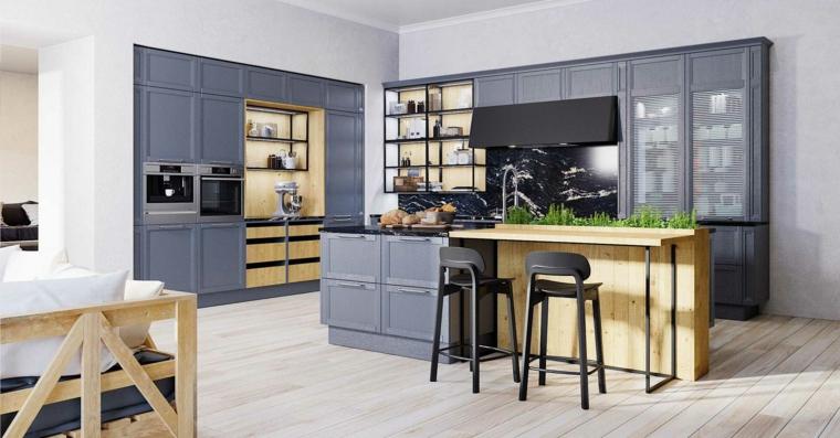 cucina ad angolo con isola centrale mobili in legno stile industriale