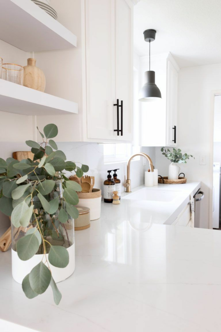 cucina ad angolo con penisola top bianco lucido vaso con pianta foglia verde