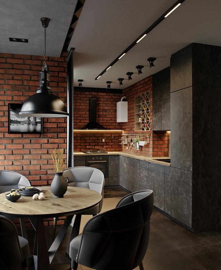 cucina ad angolo di colore grigio sala da pranzo open space arredamento loft industriale