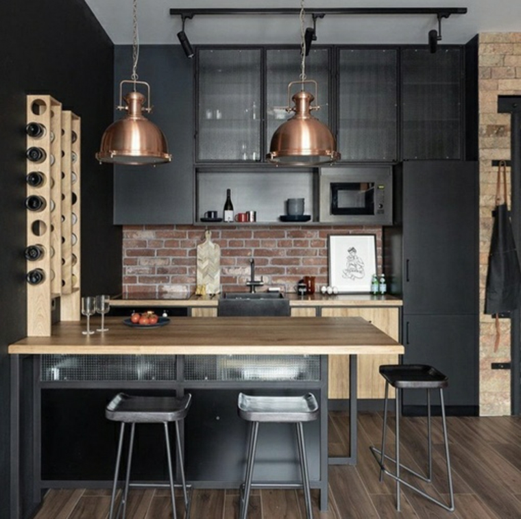 cucina ad angolo parete con mattoni a vista prolungamento isola come tavolo da pranzo