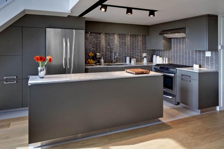 cucina angolare mobili moderni grigi
