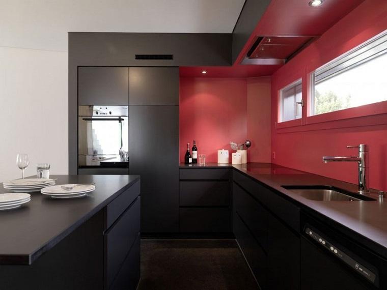 cucina angolare stile moderno rossa nera