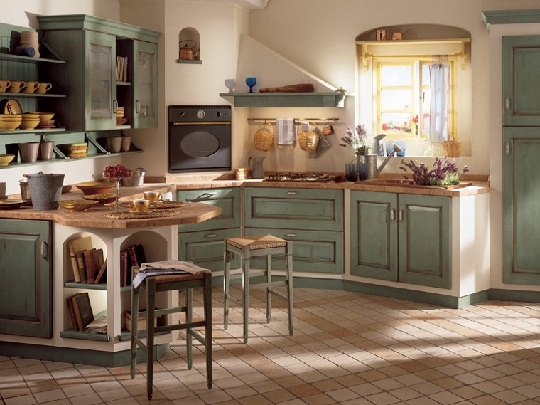 cucina arredata decorata stile vintage top legno