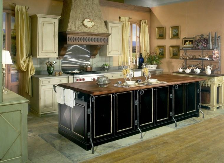 cucina arredata secondo stile country mobili colore nero tende