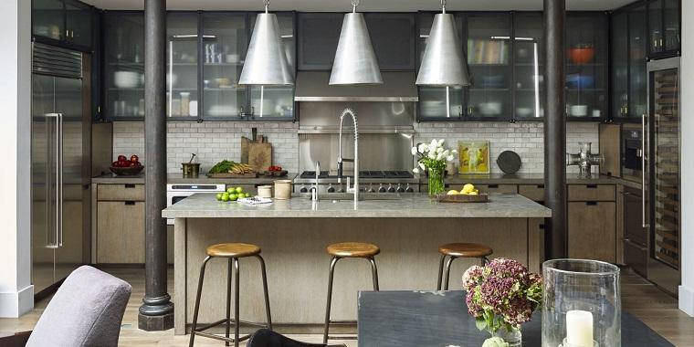 cucina arredo mobili stile industriale lampadario sospensione