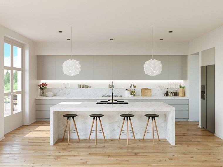 Cucina bianca e grigia un tocco di stile alla vostra zona for Lampadari design cucina