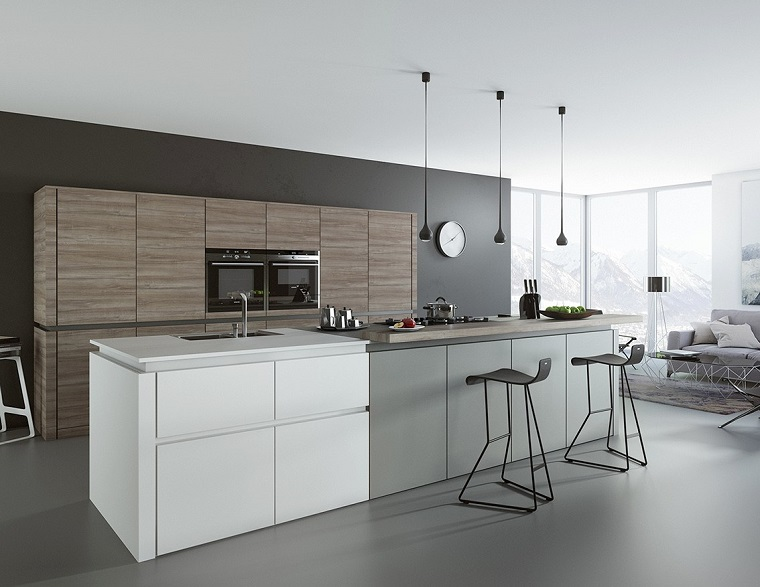 cucina bianca e grigia stile moderno orologio