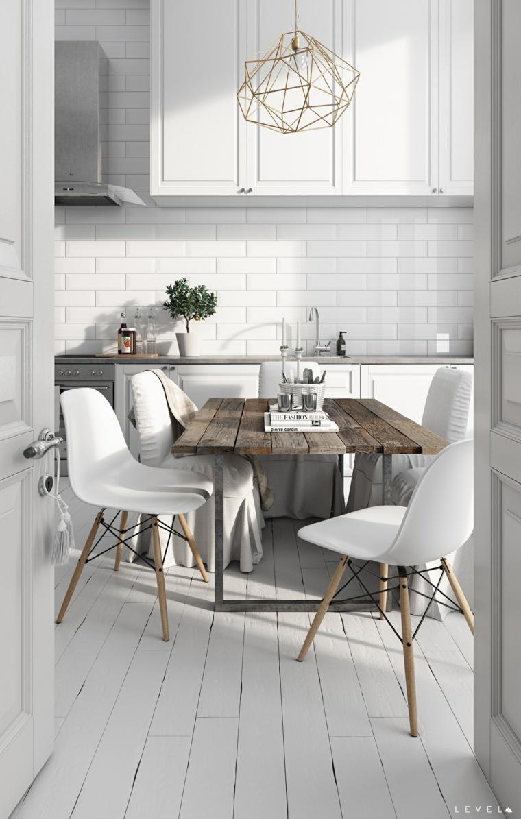 Come pitturare la cucina, piastrelle bianche sulla parete, tavolo da pranzo di legno