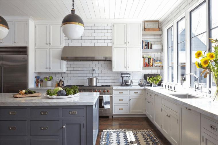 cucina bianca moderna idea originale decorazioni particolari