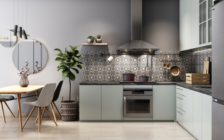 cucina componibile ad angolo forma ad l mobili di colore grigio