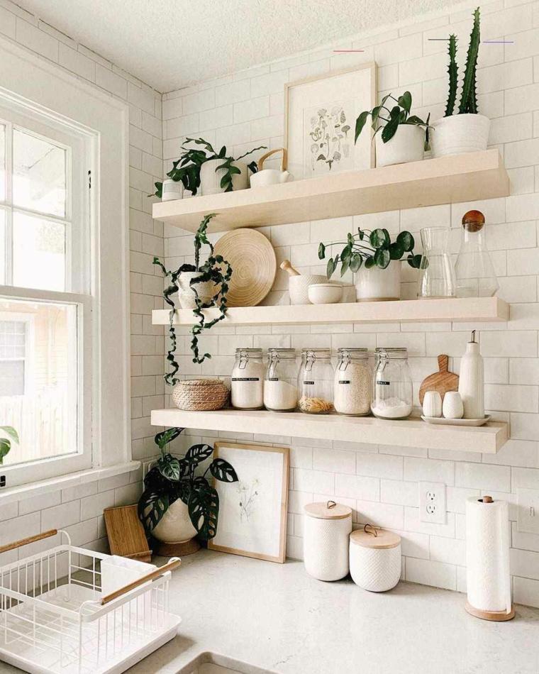 cucina componibile ad angolo parete con piastrelle barattoli con ingredienti su mensola a vista