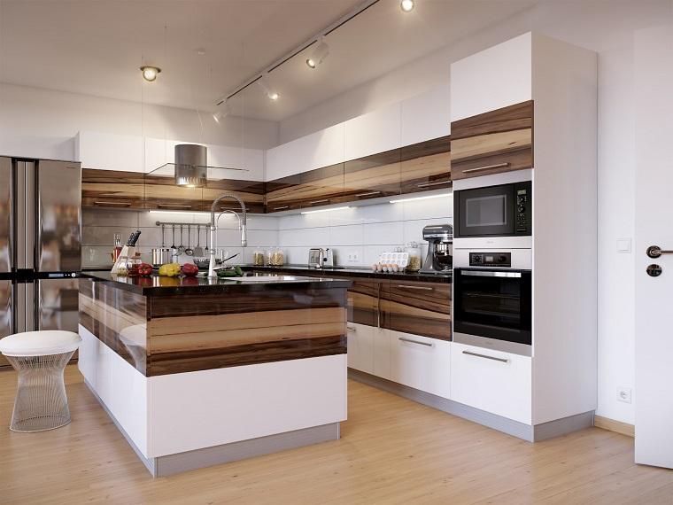 cucina con isola bianca marrone