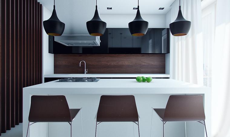 cucina con isola moderna compatta