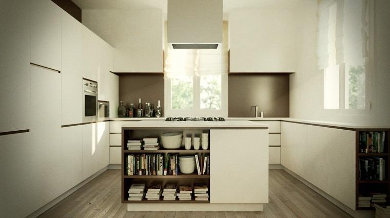 cucina con isola spazio stoccaggio stoviglie