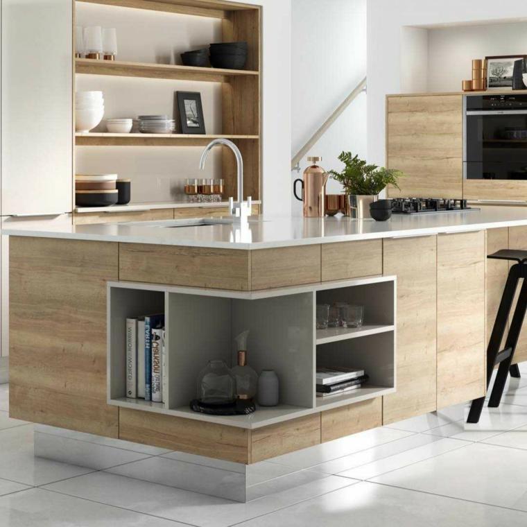 cucina con lavello ad angolo isola con mensole pavimento in piastrelle