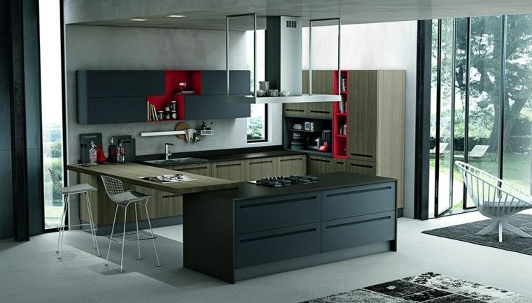 cucina con penisola colore scuro design moderno accenti rosso