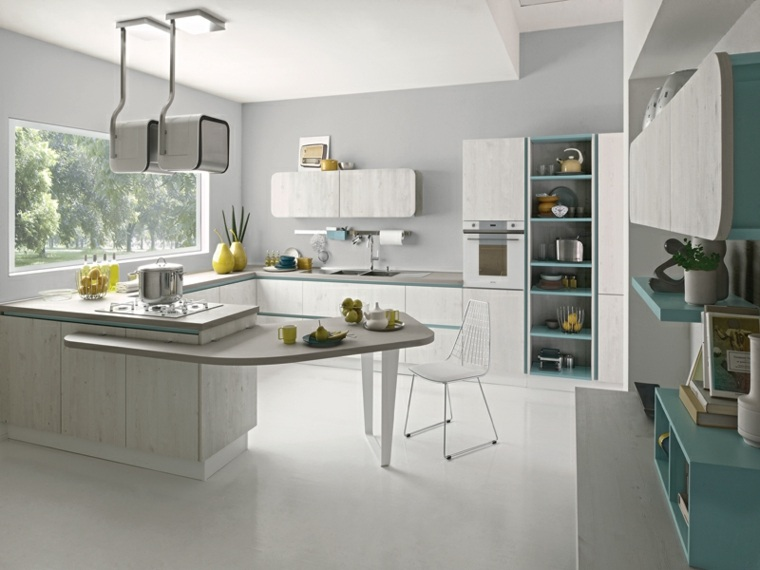cucina con penisola idea arredamento mobili legno moderno