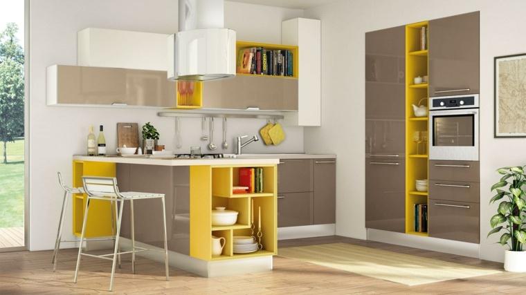 cucina con penisola idea particolare colori grigio giallo design