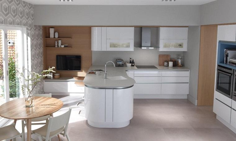 cucina con penisola soluzione bianco grigio design moderno