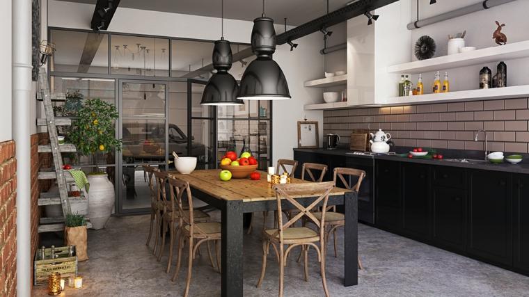 cucina e sala da pranzo insieme arredamento industriale moderno paraschizzi effetto mattoni