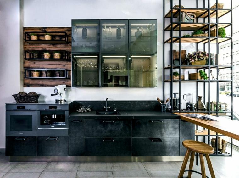 cucina industrial chic arredamento mobili di colore verde grigio pallet come mensole
