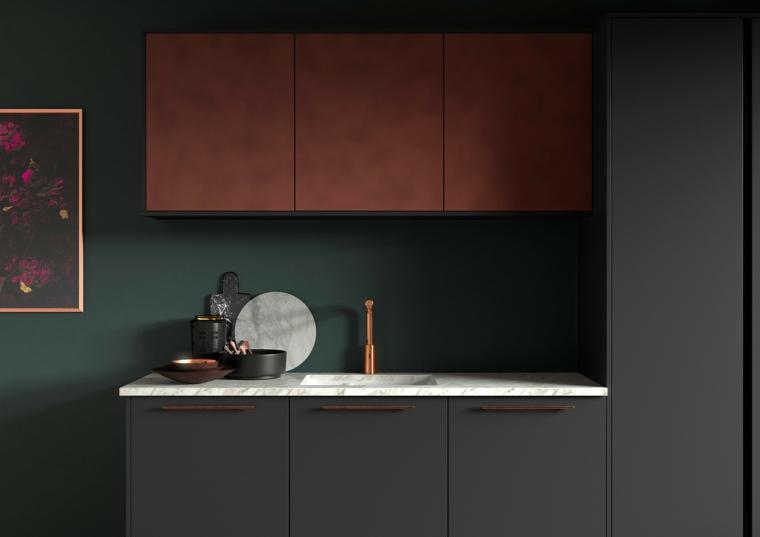 cucina industrial style mobili di colore grigio abbinato al rosso top in marmo bianco