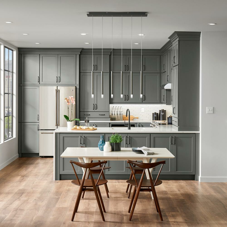 cucina industrial style mobili di colore grigio in legno tavolo da pranzo rettangolare