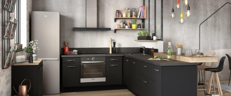 Come pitturare la cucina, pareti dipinte di colore grigio, mensole a vista e lampadine sospese