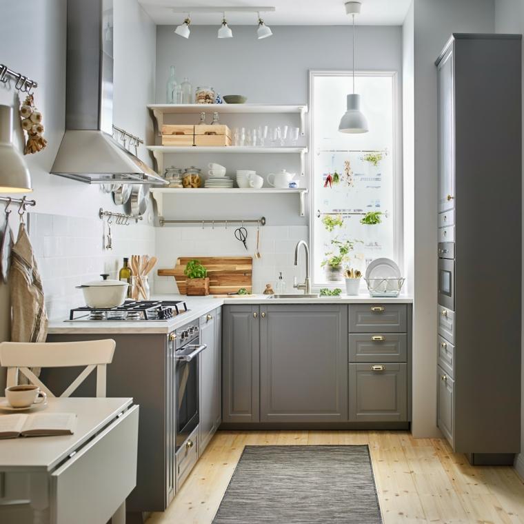cucina moderna bianca e tortora tavolo da pranzo quadrato allungabile