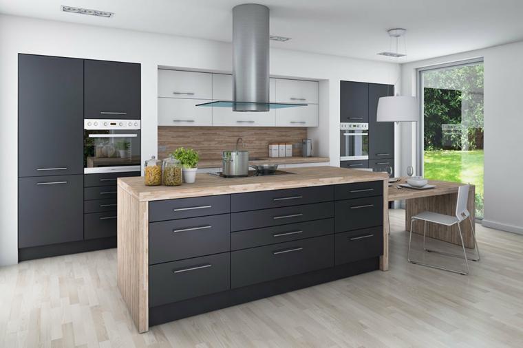 Cucine bicolore, cucina con isola centrale, pavimento in cucina parquet
