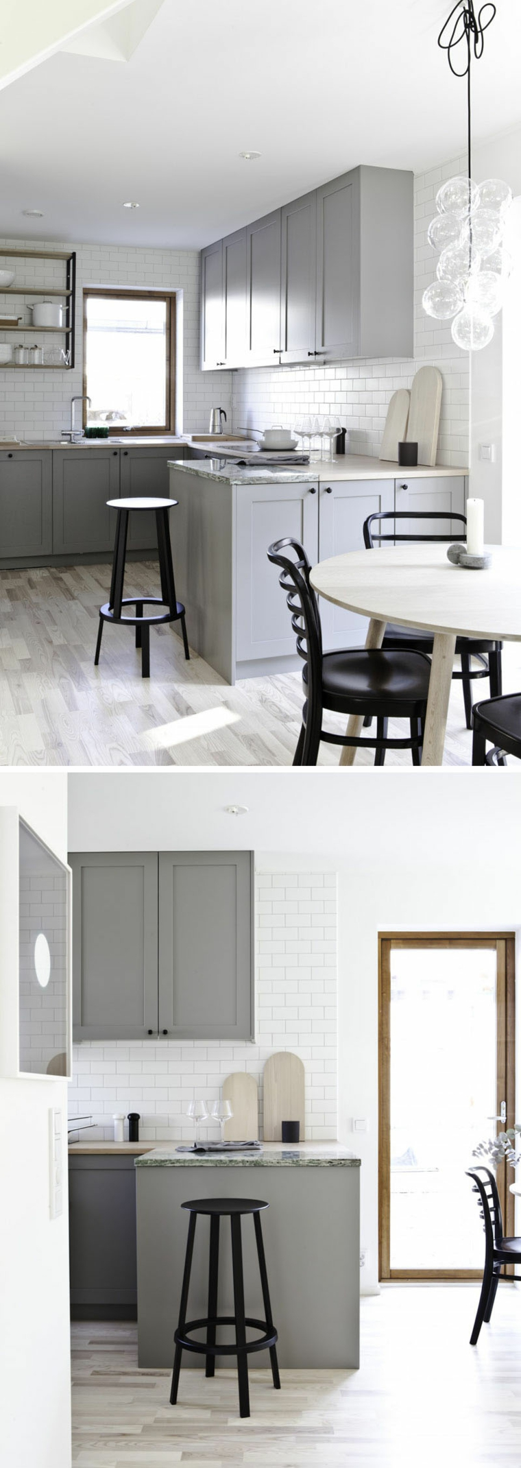 Colore pareti bianca, cucina con isola laterale, tavolo da pranzo con sedie
