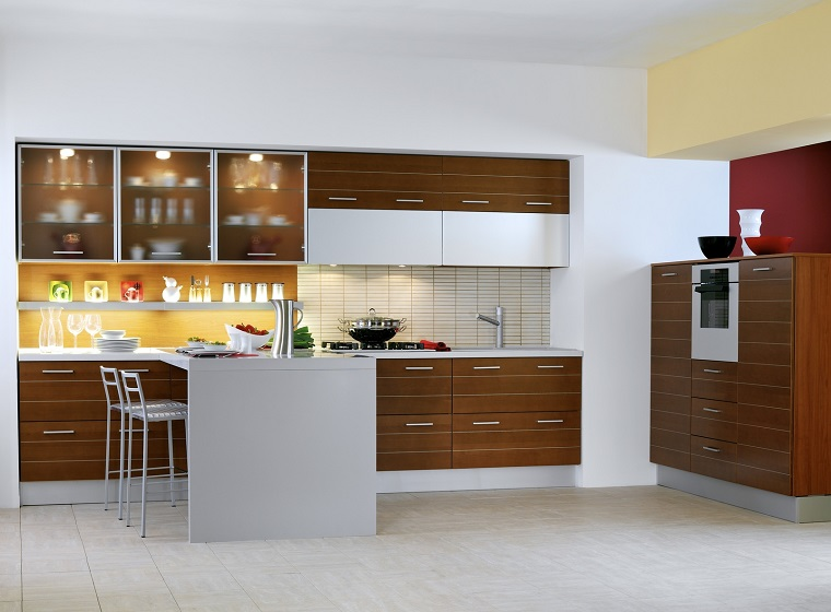 cucina penisola design classico legno stile elegante