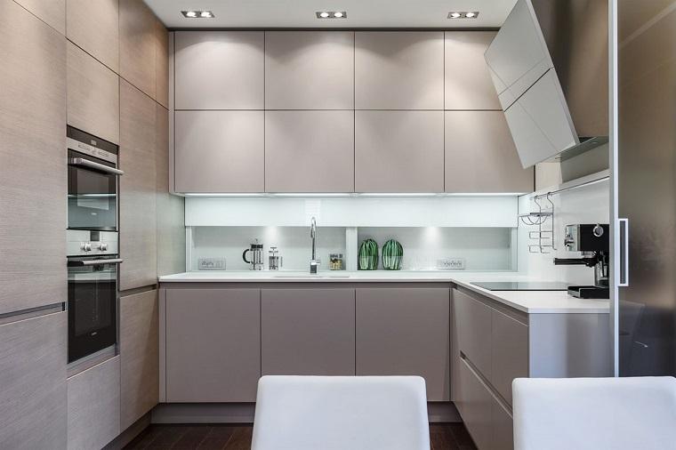 cucina piccola proposta mobili grigi moderni