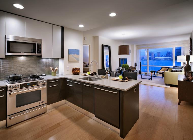 cucina soggiorno open space design moderno