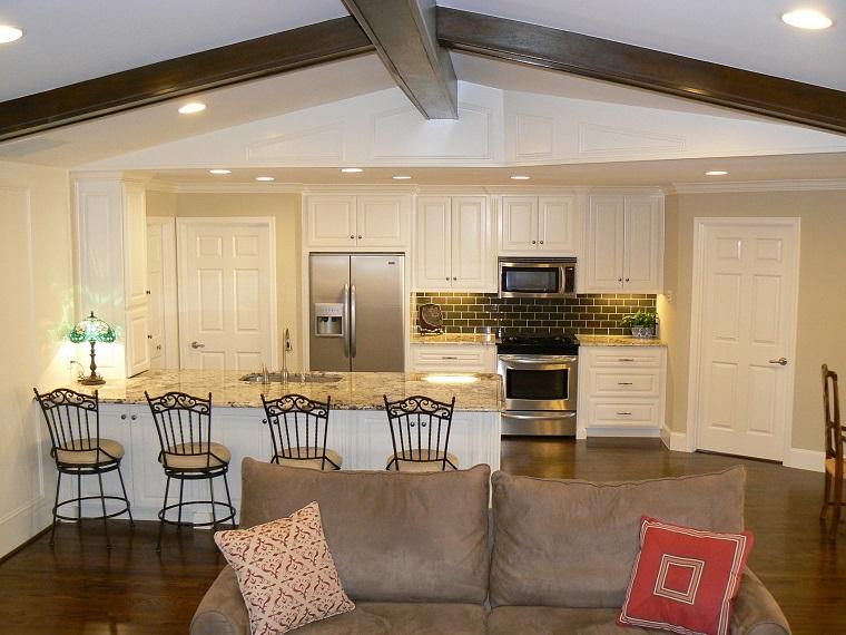 cucina soggiorno open space disposizione funzionale