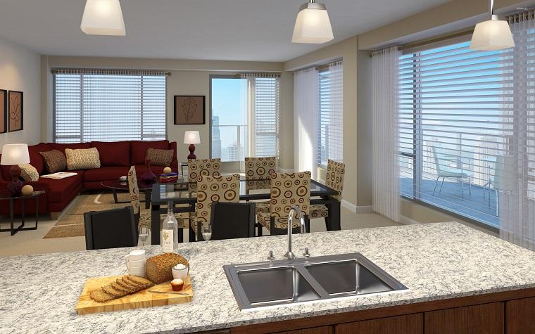cucina soggiorno open space isola divisorio
