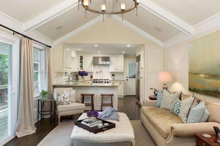 cucina soggiorno open space toni chiari