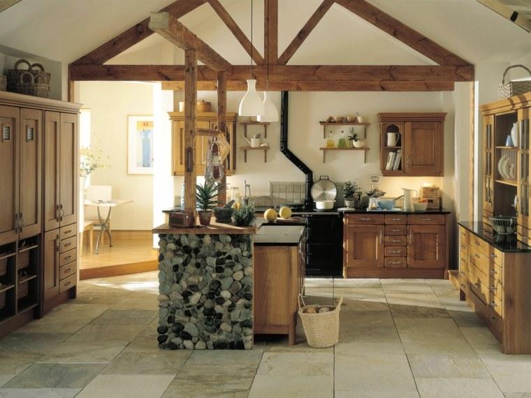 cucina stile country isola rivestita pietra