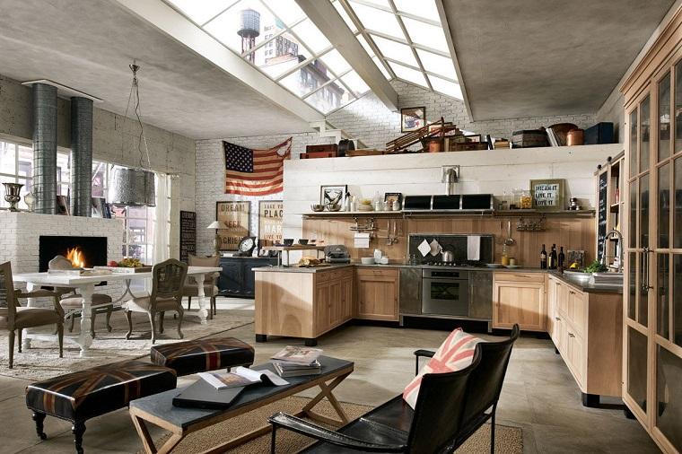 cucina stile industriale ambiente open space