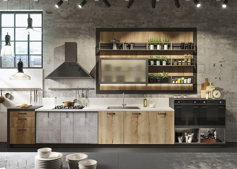cucina stile industriale ante legno colore chiaro
