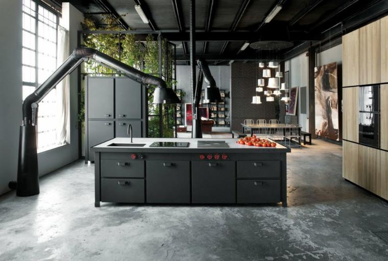 cucina stile industriale arredamento con isola centrale mobili di colore grigio scuro