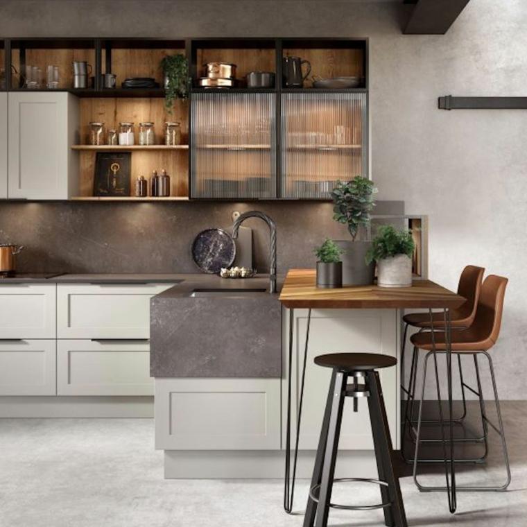 cucina stile industriale bianca prolungamento isola come tavolo da pranzo