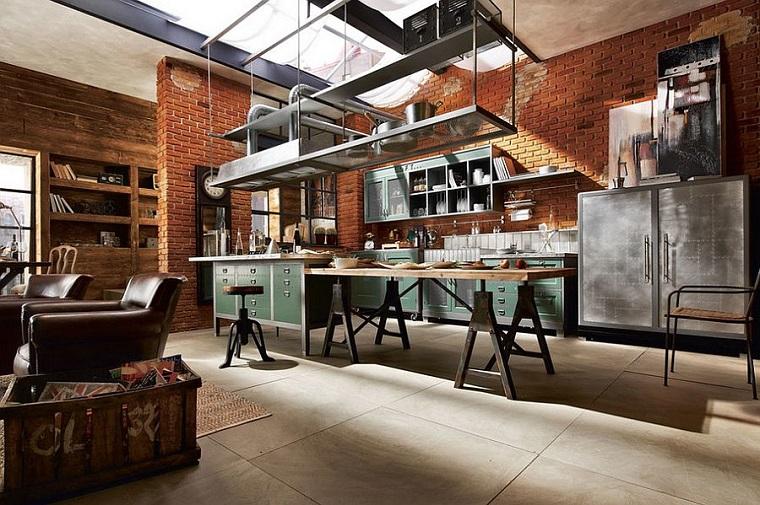 cucina stile industriale elementi archittetonici vista