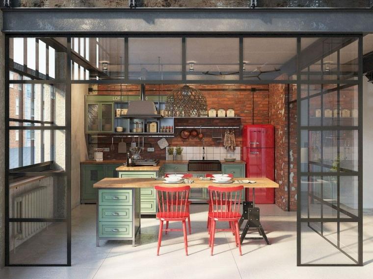 cucina stile industriale fai da te arredamento con isola centrale come tavolo da pranzo