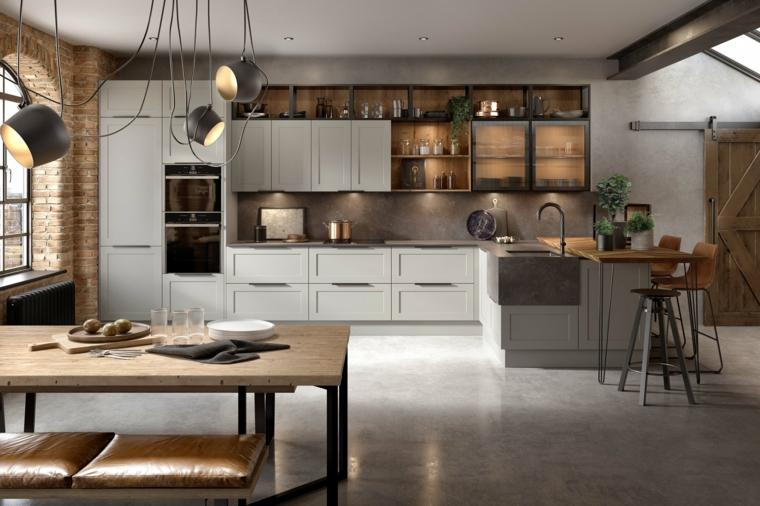 cucina stile industriale fai da te prolungamento isola come tavolo da pranzo