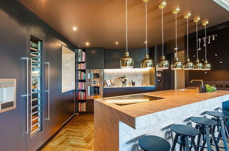 cucina stile industriale lampadari sospensione