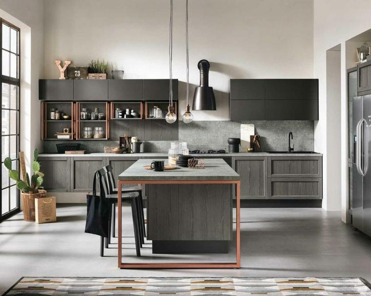 cucina stile industriale mobili in legno di colore grigio open space tavolo da pranzo